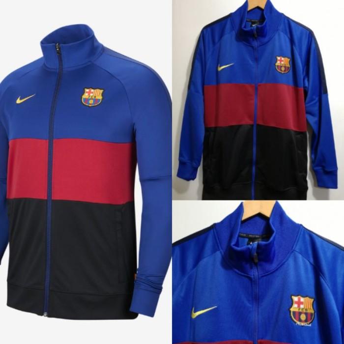 Jaket Bola Anthem Barca Barcelonaa Biru Hitam 20-21
